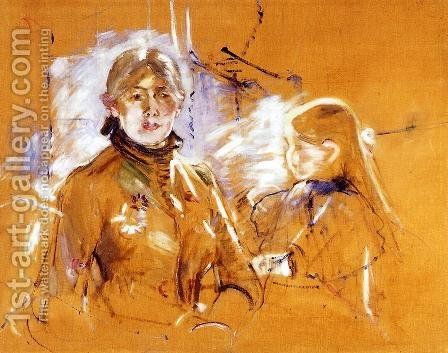 Portrait Of Berthe Morisot And Her Daughter by Berthe Morisot - Reproduction Oil Painting