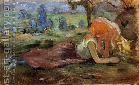 Shepherdess Laying Down2 by Berthe Morisot - Reproduction Oil Painting