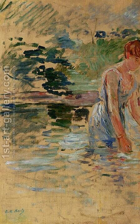 The Bath At Mesnil by Berthe Morisot - Reproduction Oil Painting