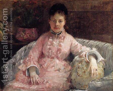 The Pink Dress Aka Poop by Berthe Morisot - Reproduction Oil Painting