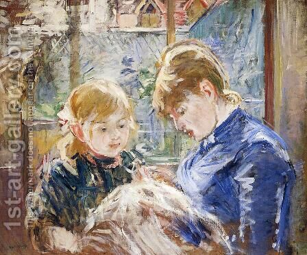 The Sewing Lesson Aka The Artists Daughter  Julie  With Her Nanny by Berthe Morisot - Reproduction Oil Painting