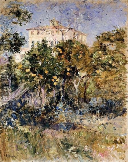 Villa With Orange Trees  Nice by Berthe Morisot - Reproduction Oil Painting