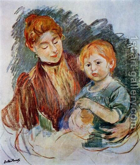 Woman And Child by Berthe Morisot - Reproduction Oil Painting