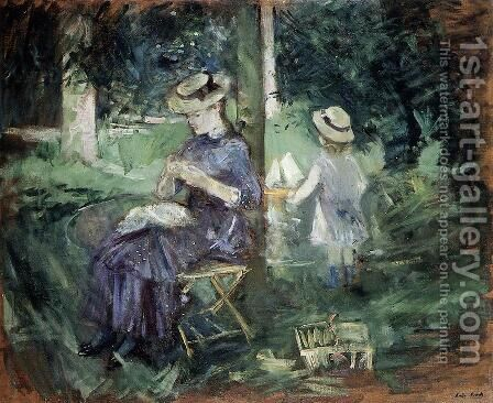 Woman and Child in a Garden 1884 by Berthe Morisot - Reproduction Oil Painting