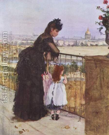 Woman And Child On A Balcony by Berthe Morisot - Reproduction Oil Painting