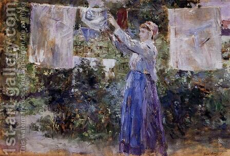 Woman Hanging Out The Wash by Berthe Morisot - Reproduction Oil Painting