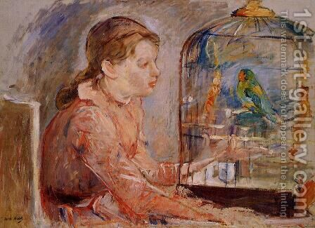 Young Girl And The Budgie by Berthe Morisot - Reproduction Oil Painting