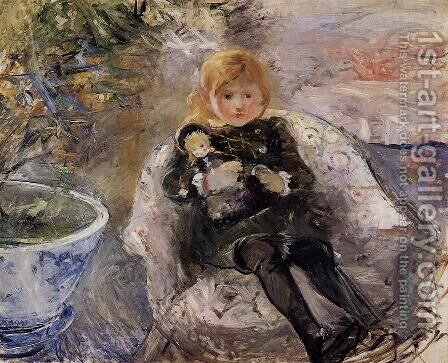 Young Girl With Doll by Berthe Morisot - Reproduction Oil Painting
