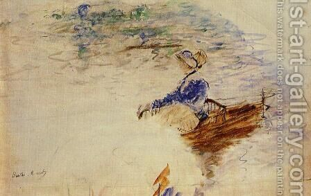 Young Woman In A Rowboat  Eventail by Berthe Morisot - Reproduction Oil Painting