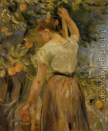 Young Woman Picking Oranges by Berthe Morisot - Reproduction Oil Painting