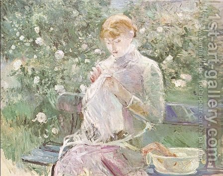 Young Woman Sewing in a Garden 1881 by Berthe Morisot - Reproduction Oil Painting