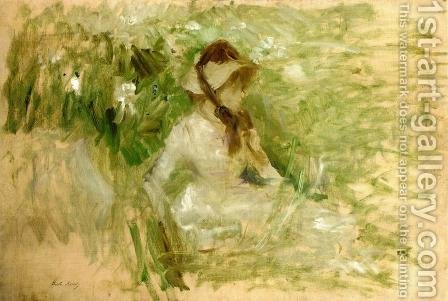 Young Woman Sitting On The Grass by Berthe Morisot - Reproduction Oil Painting