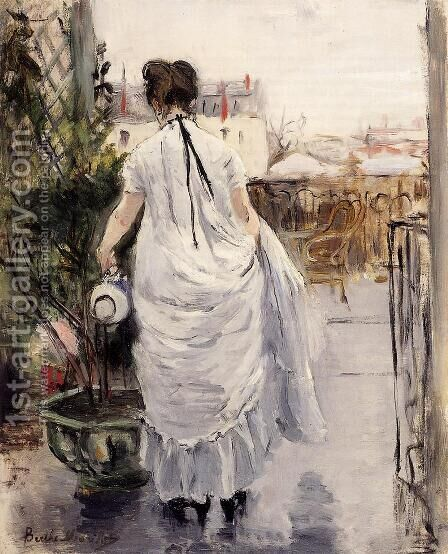 Young Woman Watering A Shrub by Berthe Morisot - Reproduction Oil Painting