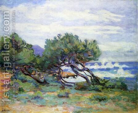 Le Pointe Du Lou Gaou  Storm  Brisk Wiind by Armand Guillaumin - Reproduction Oil Painting
