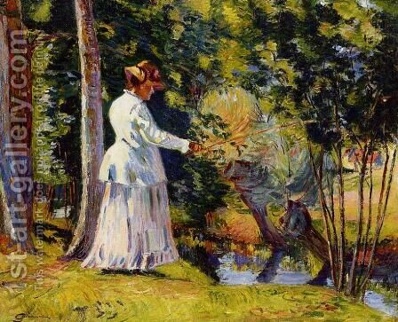 Madame Guillaumin Fishing by Armand Guillaumin - Reproduction Oil Painting