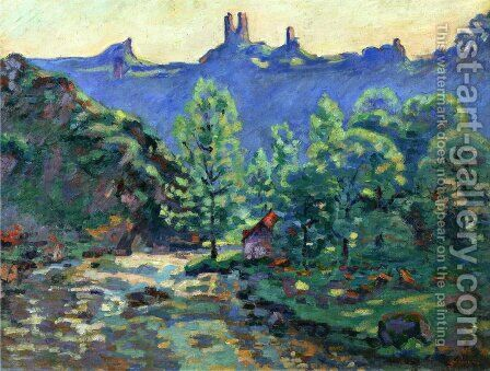 The Moulin Brigand  Ruins Of Chateau De Crozant by Armand Guillaumin - Reproduction Oil Painting