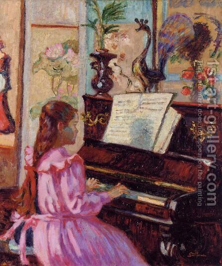 Young Girl At The Piano by Armand Guillaumin - Reproduction Oil Painting