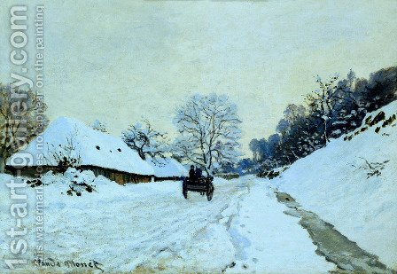 A Cart On The Snow Covered Road With Saint Simeon Farm by Claude Oscar Monet - Reproduction Oil Painting