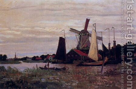 A Windmill At Zaandam by Claude Oscar Monet - Reproduction Oil Painting
