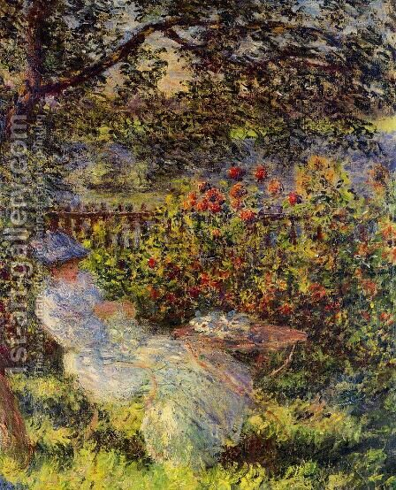 Alice Hoschede In The Garden by Claude Oscar Monet - Reproduction Oil Painting