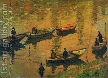 Anglers On The Seine At Poissy by Claude Oscar Monet - Reproduction Oil Painting