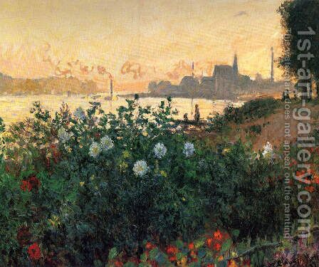 Argenteuil  Flowers By The Riverbank by Claude Oscar Monet - Reproduction Oil Painting