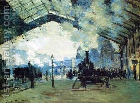 Arrival Of The Normandy Train  Gare Saint Lazare by Claude Oscar Monet - Reproduction Oil Painting