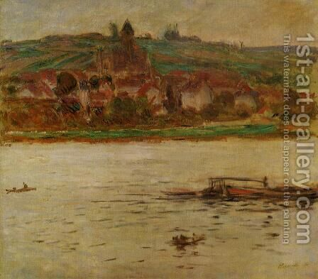 Barge On The Seine At Vertheuil Aka Vetheuil by Claude Oscar Monet - Reproduction Oil Painting