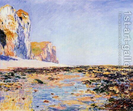 Beach And Cliffs At Pourville  Morning Effect by Claude Oscar Monet - Reproduction Oil Painting