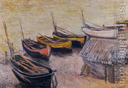Boats On The Beach by Claude Oscar Monet - Reproduction Oil Painting