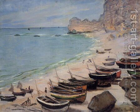 Boats On The Beach At Etretat by Claude Oscar Monet - Reproduction Oil Painting