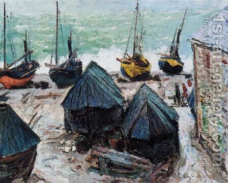 Boats On The Beach At Etretat2 by Claude Oscar Monet - Reproduction Oil Painting