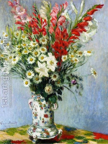 Bouquet Of Gadiolas  Lilies And Dasies by Claude Oscar Monet - Reproduction Oil Painting