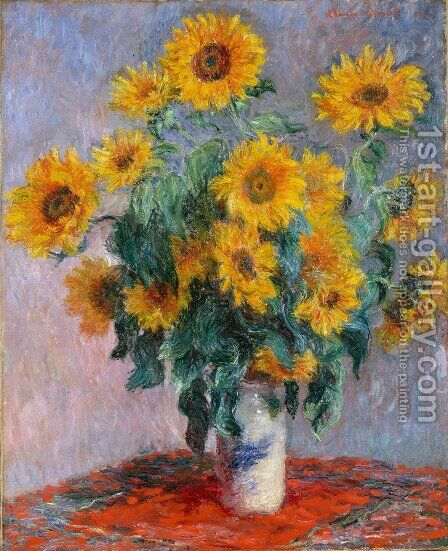 Bouquet Of Sunflowers by Claude Oscar Monet - Reproduction Oil Painting