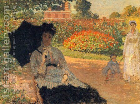 Camille In The Garden With Jean And His Nanny by Claude Oscar Monet - Reproduction Oil Painting