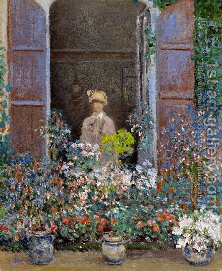 Camille Monet At The Window  Argentuile by Claude Oscar Monet - Reproduction Oil Painting
