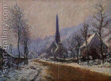 Church At Jeufosse  Snowy Weather by Claude Oscar Monet - Reproduction Oil Painting