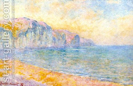 Cliffs At Pourville  Morning by Claude Oscar Monet - Reproduction Oil Painting
