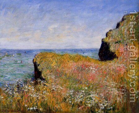 Edge Of The Cliff  At Pourville by Claude Oscar Monet - Reproduction Oil Painting
