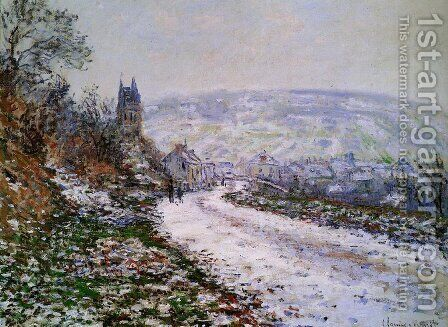 Entering The Village Of Vetheuil In Winter by Claude Oscar Monet - Reproduction Oil Painting