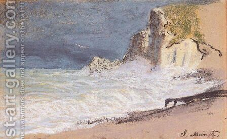 Etretat   Amont Cliff  Rough Weather by Claude Oscar Monet - Reproduction Oil Painting