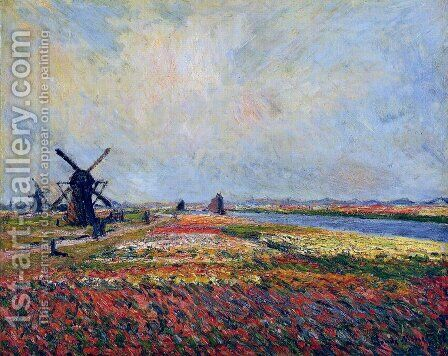 Fields Of Flowers And Windmills Near Leiden by Claude Oscar Monet - Reproduction Oil Painting