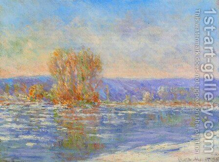 Floating Ice Near Bennecourt by Claude Oscar Monet - Reproduction Oil Painting