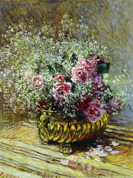 Flowers In A Pot Aka Roses And Babys Breath by Claude Oscar Monet - Reproduction Oil Painting