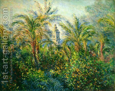 Garden In Bordighera  Morning Effect by Claude Oscar Monet - Reproduction Oil Painting