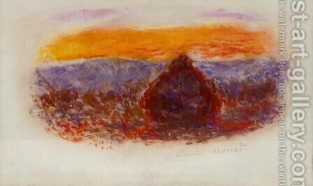 Grainstack At Sunset2 by Claude Oscar Monet - Reproduction Oil Painting
