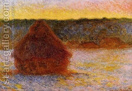 Grainstack At Sunset  Winter by Claude Oscar Monet - Reproduction Oil Painting