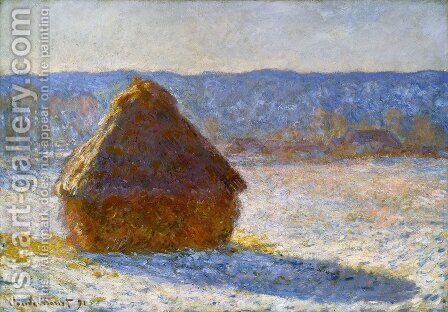 Grainstack In The Morning  Snow Effect by Claude Oscar Monet - Reproduction Oil Painting