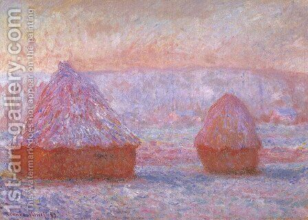 Grainstacks At Giverny  Morning Effect by Claude Oscar Monet - Reproduction Oil Painting