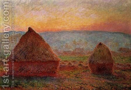 Grainstacks At Giverny  Sunset by Claude Oscar Monet - Reproduction Oil Painting
